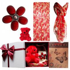 Pachet  cadou Valentine s Day, bratara fluturi din sidef, esarfa,  brosa coral