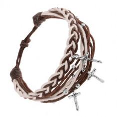 Brățară cu șnururi împletite, maro și albe, amulete - crucifix