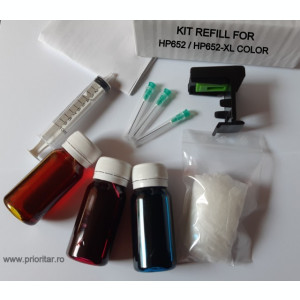 Kit refill COLOR reincarcare cartuse HP-652 HP652 F6V24AE HP-652XL