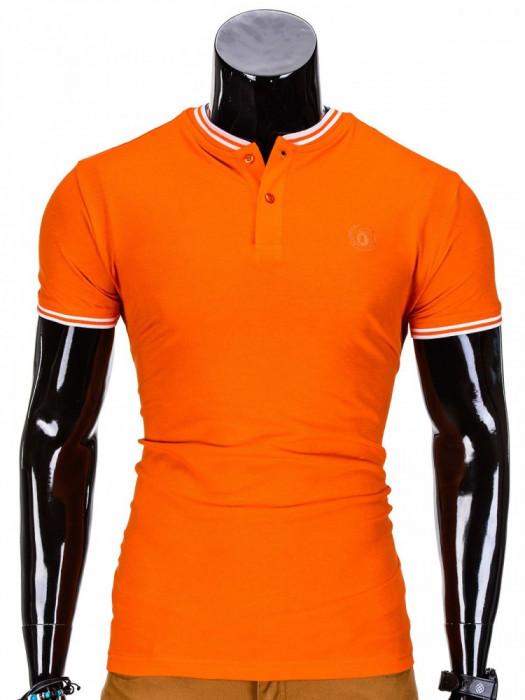 Tricou pentru barbati stil tunica portocaliu simplu slim fit casual S843