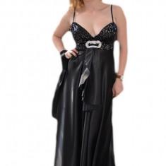 Rochie superba de gala, din saten elegant, cu insertii de paiete negre
