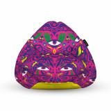 Cumpara ieftin Fotoliu Units Puf (Bean Bag) tip para, impermeabil, cu maner, 80 x 90 x 68 cm, psihedelic