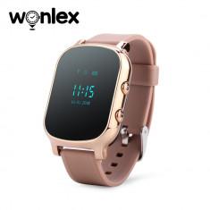 Ceas Smartwatch Pentru Copii Wonlex GW700-T58 cu Functie Telefon, Localizare GPS - Auriu, Cartela SIM Cadou