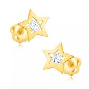 Cercei cu diamant din aur galben de 14K - contur de stea, diamant transparent