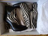 Botine Noi Lyria , Piele naturala Zebra, Marime 37, Negru
