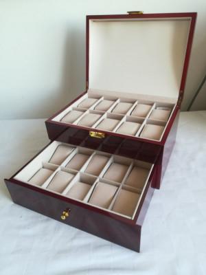 Cutie Caseta Depozitare pentru 20 Ceasuri lemn – cadoul ideal. SIGILAT! foto