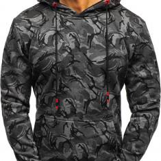 Bluză pentru bărbat cu glugă camuflaj-grafit Bolf TR17
