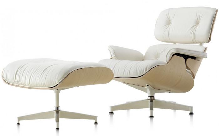 Scaun Eames Lounge Chair cu Otoman piele alba