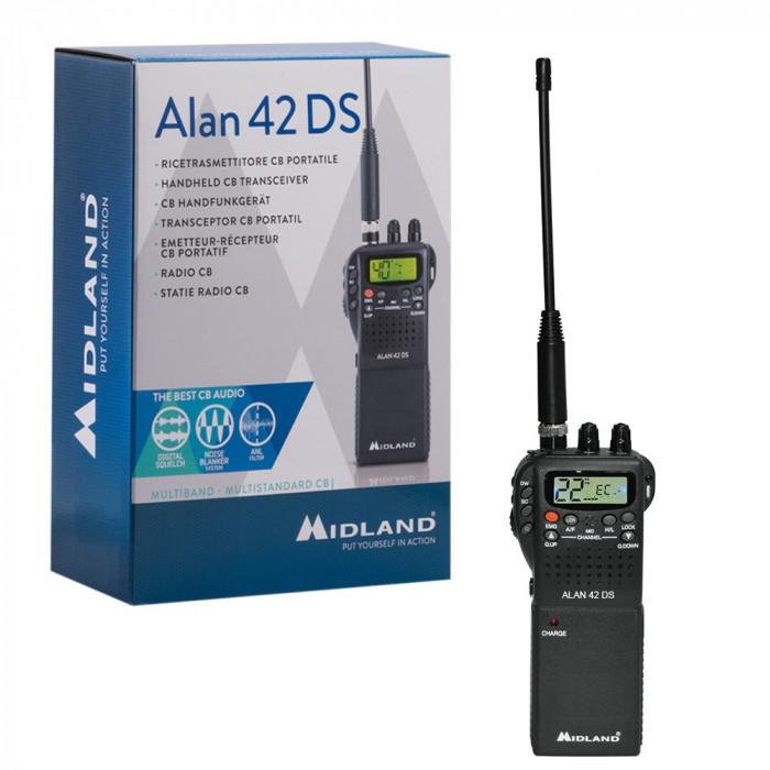 Resigilat : Statie radio CB portabila Midland Alan 42 DS cu Squelch Automat Digita