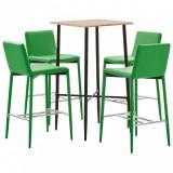 Set mobilier de bar, 5 piese, verde, piele ecologică, vidaXL