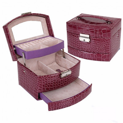 Caseta bijuterii Crocodile Style Purple Autentic HomeTV foto