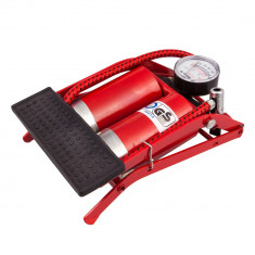 Pompa aer de picior cu piston dublu si manometru 4cars TK92025
