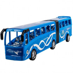 Masinuta de jucarie, model autobuz dublu, albastru, 45×10 cm