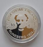 """Moneda de argint - 10 Euro 2004 """"J.L. Runeberg"""", Finlanda, Europa"""