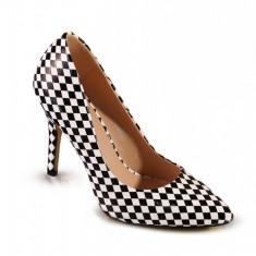 PDS113-1122 Pantofi stiletto cu imprimeu alb-negru