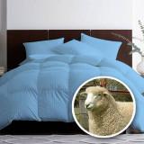 Pilota matlasata umpluta cu lana pentru iarna damasc Albastru 140x210 cm