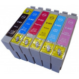 Set 6 cartuse imprimanta Epson T0801 T0802 T0803 T0804 T0805 T0806 compatibile capacitate mare., Multicolor, Original