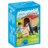 Set de Constructie Fetita cu Catel si Cusca - Country, Playmobil