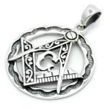 Pandantiv argint Simboluri masonice 3 cm