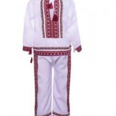 Costum popular muntenesc pentru baieti 2-4 ani bumbac, Universal, Alb, Negru