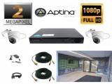 Kit supraveghere video intrare scara bloc 2 camere profesionale 2 MP 1080P FULL HD 20m infrarosu, full accesorii SafetyGuard Surveillance