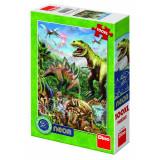 Puzzle XL Lumea dinozaurilor neon, 100 piese, 5-8 ani