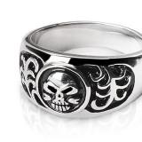 Inel din oțel inoxidabil - craniu și ornamente - Marime inel: 70