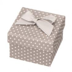Cutie de cadou pentru bijuterii, gri - puncte albe, cu o fundă