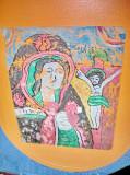 6652-Icoana veche naiva sticla Maica cu Pruncul.