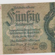 BANCNOTA GERMANIA 50 REICHSMARK 30 MARTIE 1933/UNC