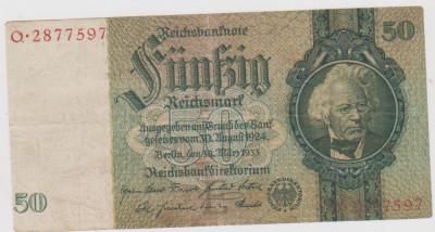 BANCNOTA GERMANIA 50 REICHSMARK 30 MARTIE 1933/UNC foto