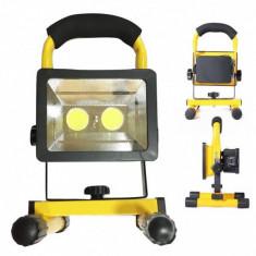 Proiector 2xCOB LED 30W 12V 220V cu Acumulator si Suport, Alb Rece foto