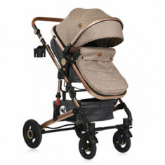 Carucior transformabil 3 in 1, Alba, cos auto inclus, Dark Beige