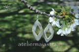 cercei lungi, cercei mireasa, cercei argintii, bijuterii femei, cadou handmade