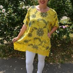 Bluza dama Inna cu imprimeu si insertii de dantela ,nuanta de galben, 50, 52, 54, 56