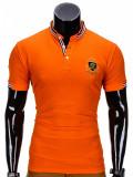 Cumpara ieftin Tricou barbati, stil tunica, portocaliu simplu, slim fit, casual - S849
