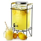 Borcan Dispenser din sticla cu robinet si suport, pentru bauturi, capacitate 8L, Palmonix