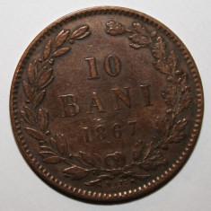 OKAZIE !!! 10 BANI 1867 WATT&Co . CEL MAI MIC PRET PT. ACEASTA STARE ., Cupru (arama)