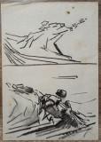 Peisaje// studiu Ion Taralunga, carbune pe hartie, Acuarela, Avangardism