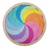 Roata curcubeu - mozaic joc puzzle din lemn.