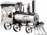 Cumpara ieftin Suport din Metal lucios pentru Sticla de Vin, model Locomotiva cu Aburi, Capacitate 1 Sticla, Argintiu Negru, H 23 cm L 37.5cm