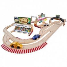 Pista de masini din lemn copii 3+ ani Porsche Racing cu 3 masinute