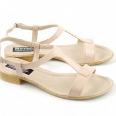 Sandale dama din piele naturala Bej LAC - Made in Romania S16BEJLAC