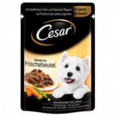 Cesar hrană umedă câini cu Pui/Morcovi în sos 4x100 gr, Umeda