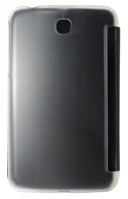 Husa tip carte neagra spate transparent cu stand pentru Samsung Galaxy Tab 3 P3200 (SM-T211) / P3210 (SM-T210)
