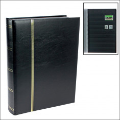 Clasor timbre cu 32 file / 64 pagini negre - NEGRU