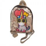 Ghiozdan copii geanta rucsac unicorn, paiete, fermoar, Dalimag, 22x25x10 cm