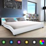 Pat LED & saltea cu memorie din piele artificială, 180 cm, alb