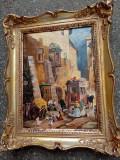 Ulei pe panza o lucrare veche semnata de o foarte bună calitate, Scene gen, Realism