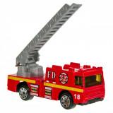 Masinuta de jucarie in miniatura, model camion de pompieri, 8x4x3cm, rosu